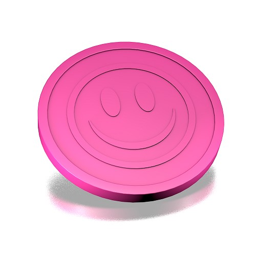 23.3mm Smiley Reliëf  fluor Roze