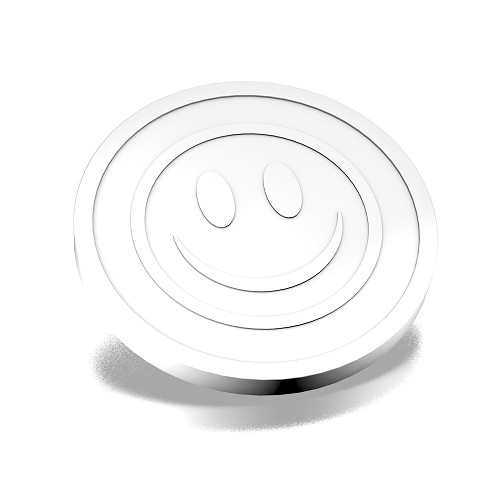 23mm White coins with smiley Embossed