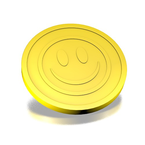 Gele smiley munten 23mm