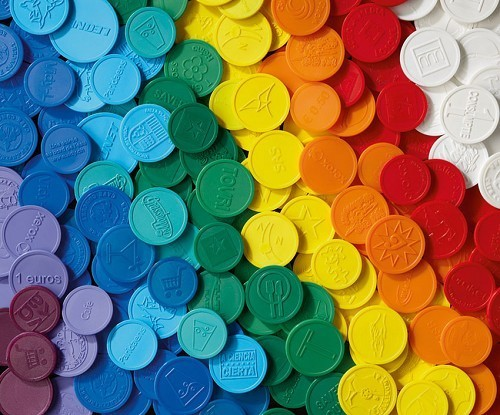 Coins Mix 5 colors - 1000 pieces 23mm