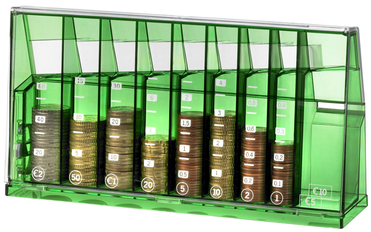 Euro sort money box Green transparent recycled