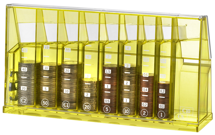 Euro sort money box Yellow transparent recycled