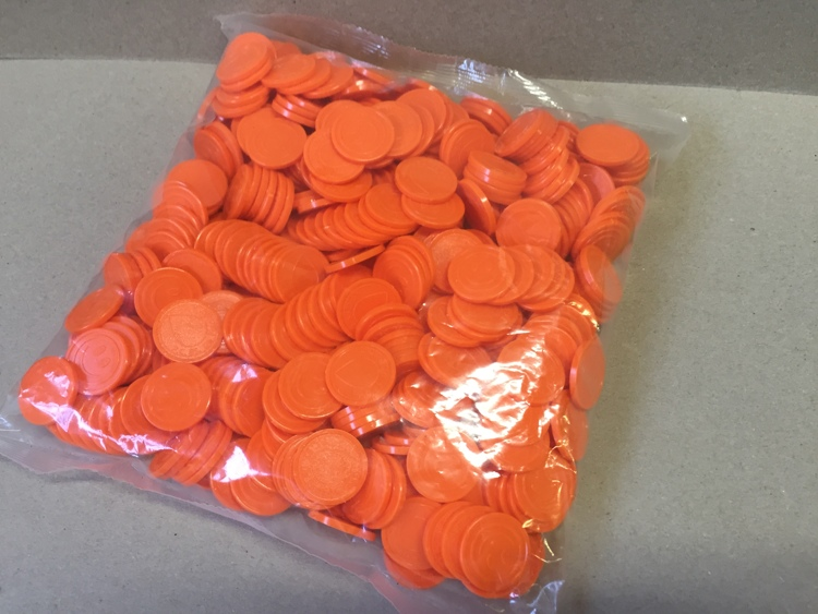 Orange Coins with logo and smiley (500 pcs per bag)