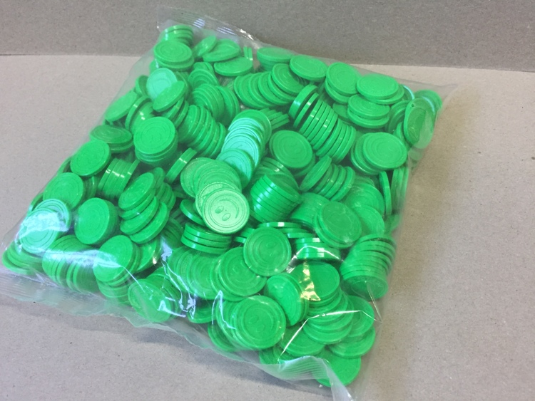 Green Coins with logo and smiley (500 pcs per bag)
