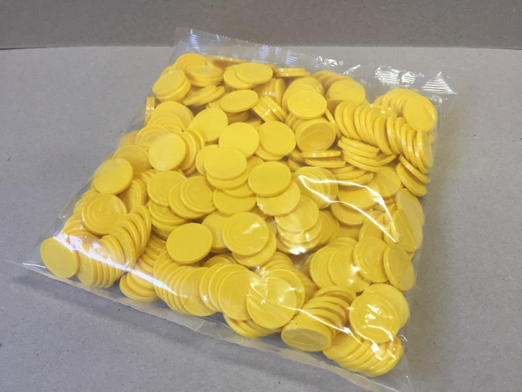 Yellow Coins with logo and smiley (500 pcs per bag)