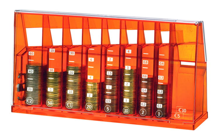 Euro sort money box Orange transparent recycled